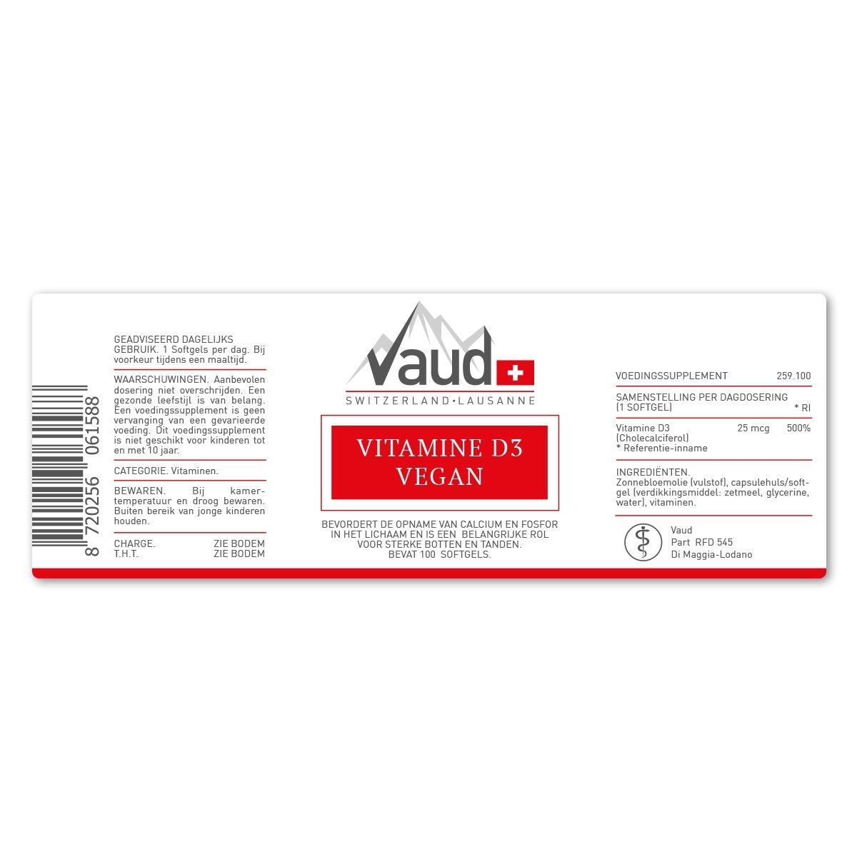 Productlabel Vitamine D3 Vegan